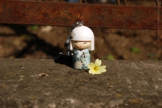 Found this flower on the ground. She whispered something to it